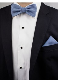 Steel Blue Bow Tie Set Styled with Suit Jacket