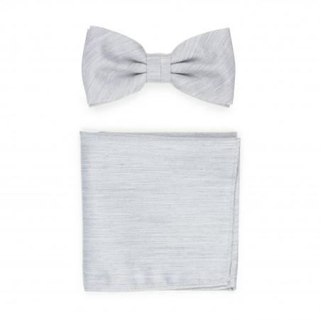 Linen Textured Bowtie Set in Mystic Gray