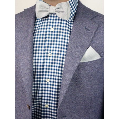 Linen Textured Bowtie Set in Mystic Gray Styled