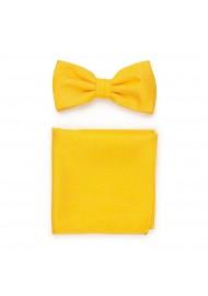 Mens Bowtie Set in Marigold Yellow