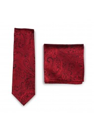 Modern Paisley Tie and Pocket Square Set in Ruby Red