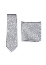 Dress Necktie in Silver with matching Pocket Square