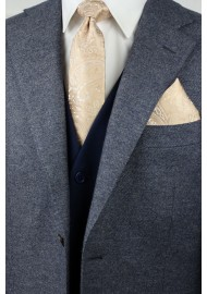 Mens Paisley Tie Set in Golden Champagne Styled