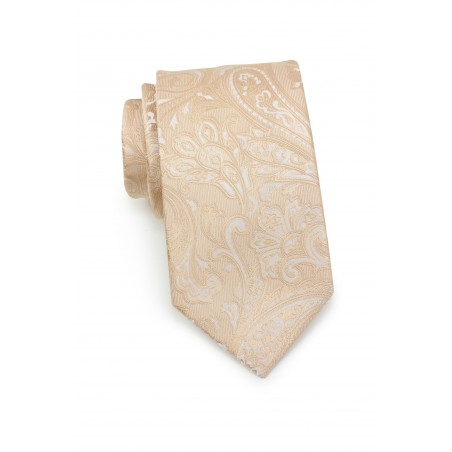 Mens Paisley Tie in Golden Champagne