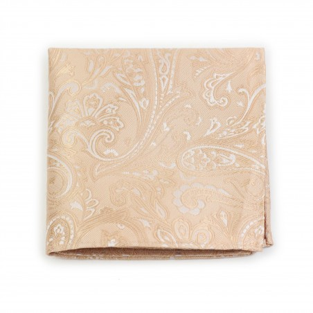 Mens Paisley Pocket Square in Golden Champagne