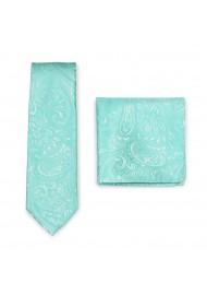 Mens Paisley Tie Set in Aqua