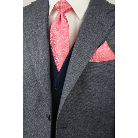 Caribbean Coral Paisley Tie Combo Set Styled