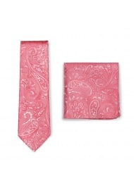 Caribbean Coral Paisley Tie and Hanky Combo Set