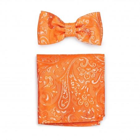 Summer Wedding Bow Tie Set in Mandarin