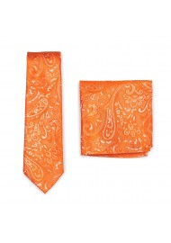 Mens Tie Set with Paisley Design in Mandarin