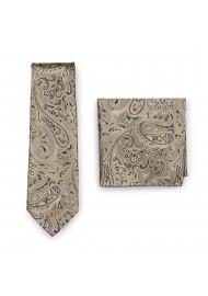 Wedding Paisley Tie Combo Set in Bronze Gold