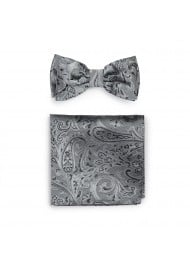 Paisley Bow Tie Combo Set in Mercury Silver