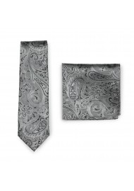 Woven Paisley Tie and Pocket Square Combo in Mercury Silver