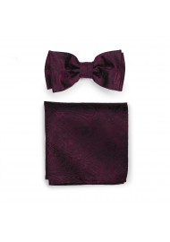 Claret Burgundy Paisley Bow Tie and Pocket Square Set