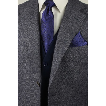 Ultramarine and Black Paisley Tie with Pocket Square Combo Set Styled