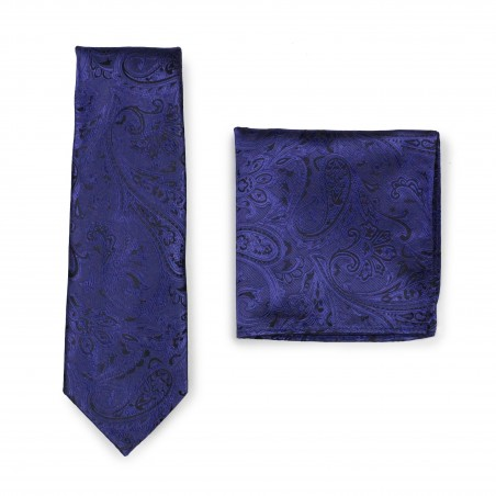 Ultramarine and Black Paisley Tie with Pocket Square Combo Set