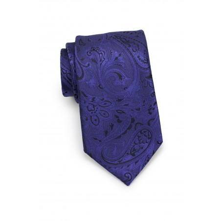 Ultramarine and Black Paisley Tie