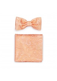 Peach Hued Summer Paisley Bow Tie and Pocket Square Set