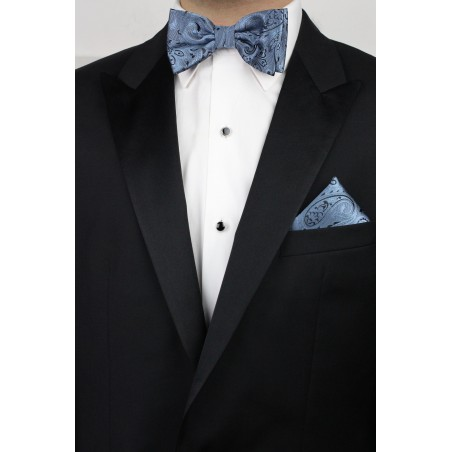 Steel Blue and Black Paisley Bow Tie and Hanky Set Styled
