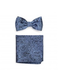 Steel Blue and Black Paisley Bow Tie and Hanky Set
