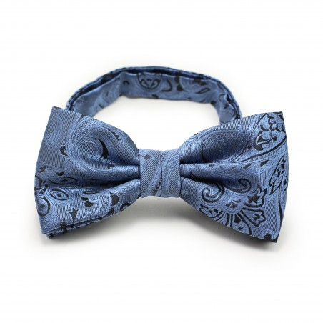 Steel Blue and Black Paisley Bow Tie