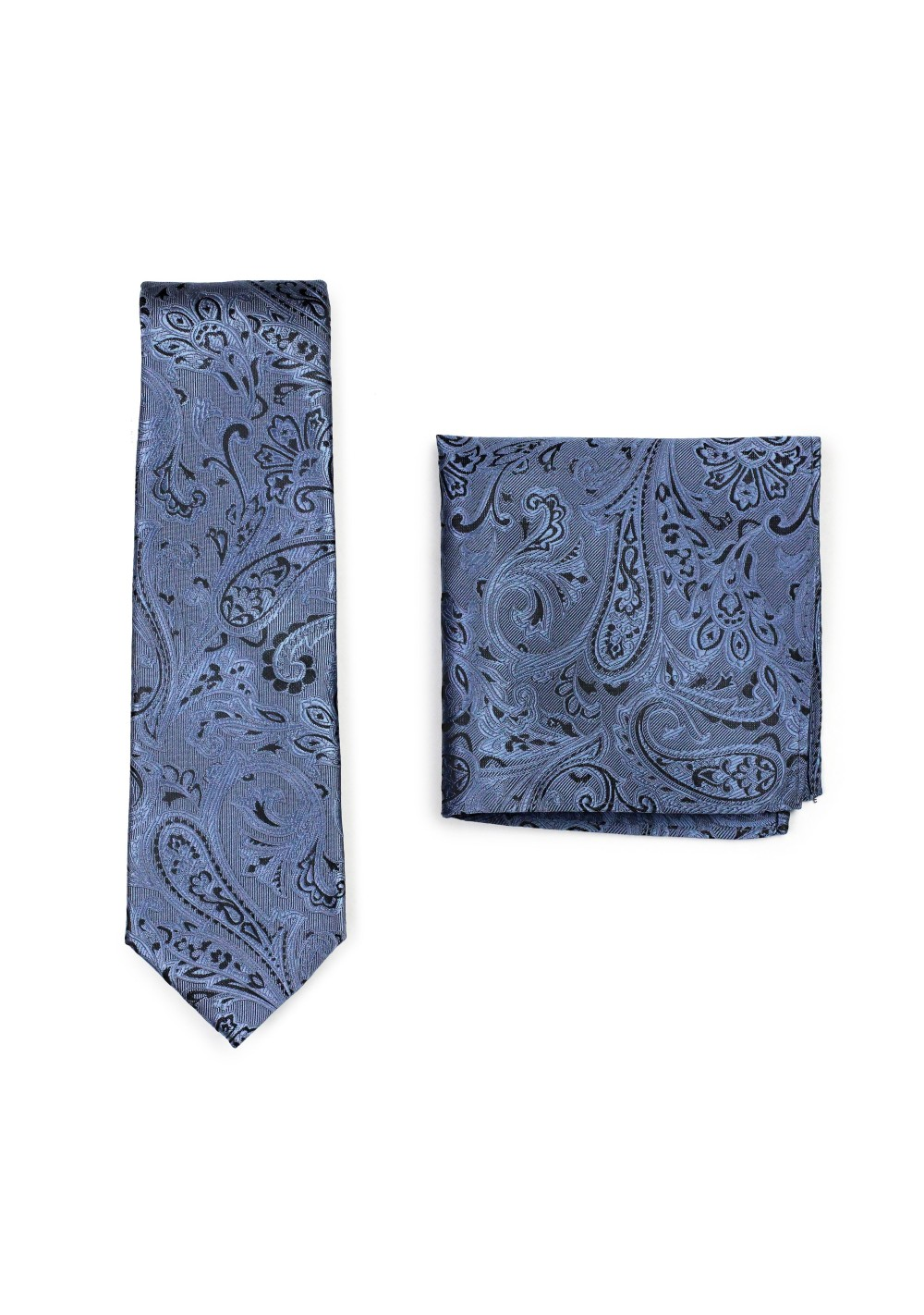 Steel Blue and Black Paisley Tie and Pocket Square Set