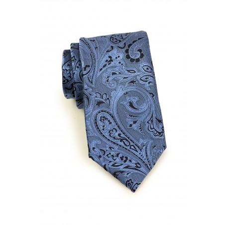 Steel Blue and Black Paisley Tie