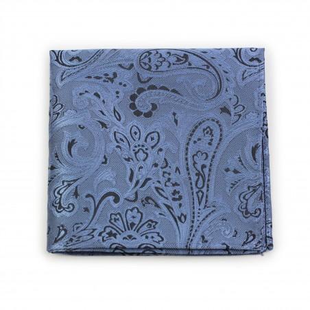 Elegant Steel Blue Paisley Pocket Square