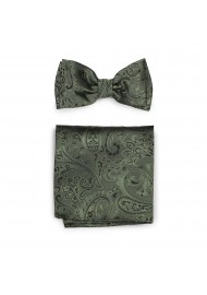 Moss Hued Paisley Bow Tie and Pocket Square Hanky