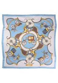 Elegant Equestrian Print Scarf in Light Blue, White, and Gold