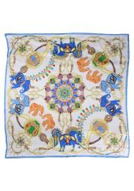 Aqua, Cream, and Orange Silk Scarf with Elephant Print