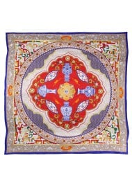 Royal Persian Print Designer Silk Scarf in Crimson, Navy, and Gold