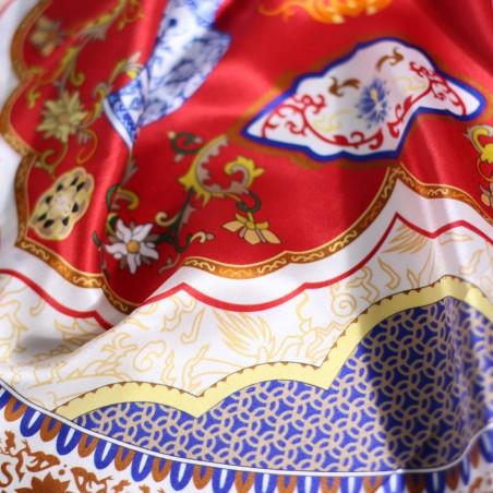 Royal Persian Print Designer Silk Scarf in Crimson, Navy, and Gold Detail Close Up