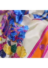 Designer Ladies Silk Scarf with Horse and Floral Print Detailed Close Up