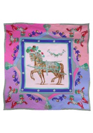 Pink and Lavender Summer Silk Scarf with Horses and Flowers