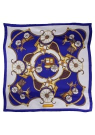 Ladies Oversized Silk Scarf in Navy, White, and Gold