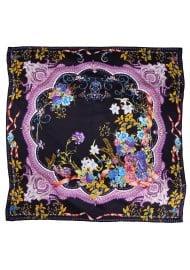 Navy and Purple Floral Designer Silk Scarf