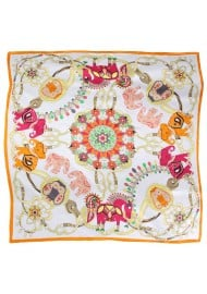 Far East Elephant Print Silk Scarf in Orange, Gold, and Cream