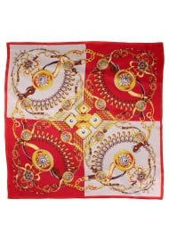 Bold Red and Gold Ladies Designer Silk Scarf