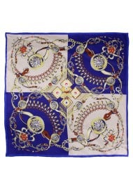 Navy and Gold Scarf in Elegant Ancient Jewelry Print