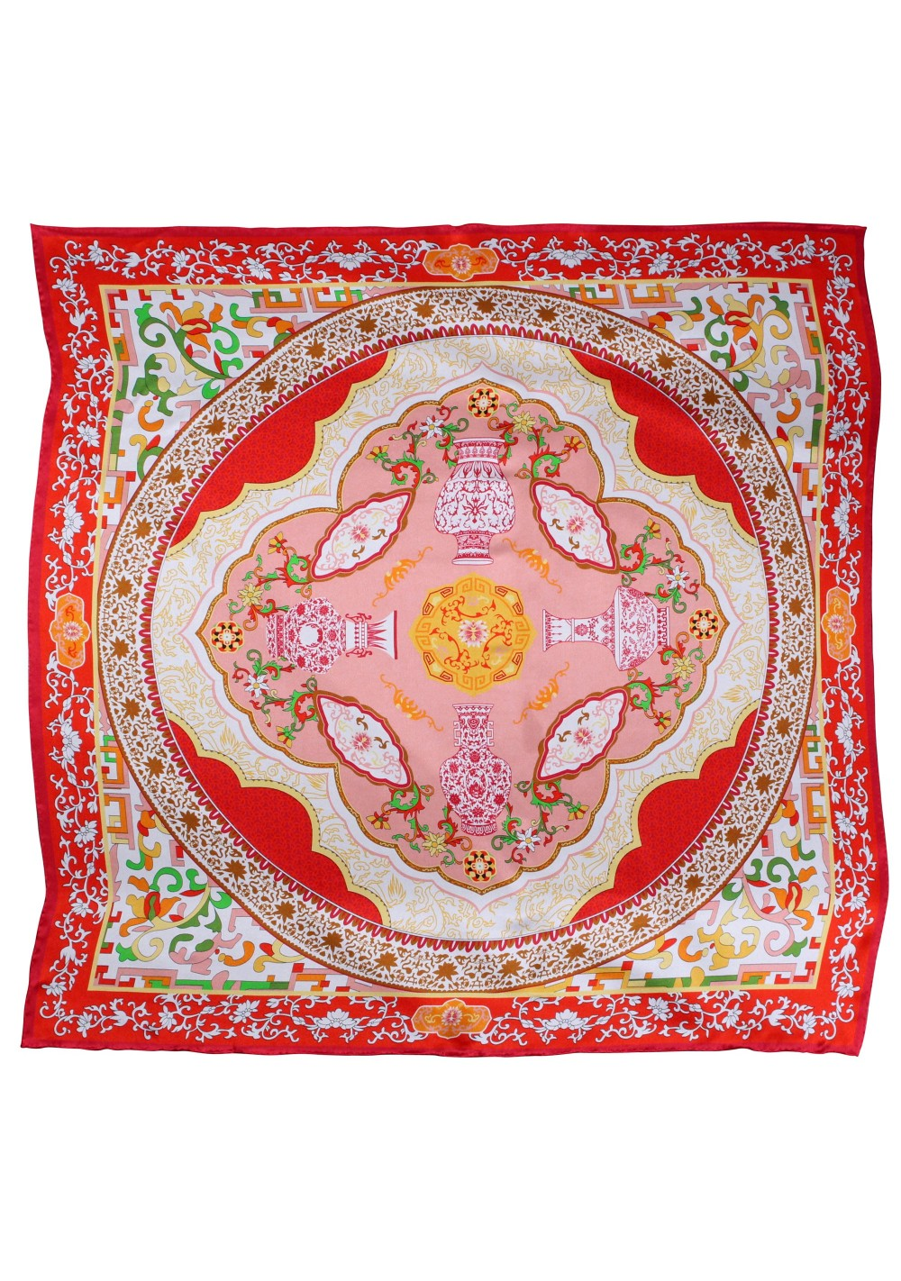 Persian Print Designer Scarf in Bright Red, Cherry, and Gold