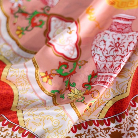 Persian Print Designer Scarf in Bright Red, Cherry, and Gold Detailed Close Up