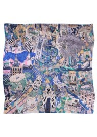Parisian Print Oversized Silk Scarf