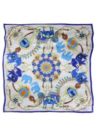 Indian Horse and Elephant Print Silk Scarf in Blue and Cream