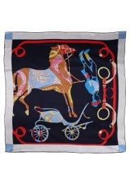 Modern Equestrian Print Ladies Scarf in Navy Blue