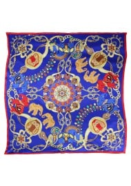 Ancient Indian Print Ladies Scarf in Navy, Red, and Tangerine