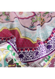 Pink and Cream Silk Scarf in Persian Design Print Detailed Close Up