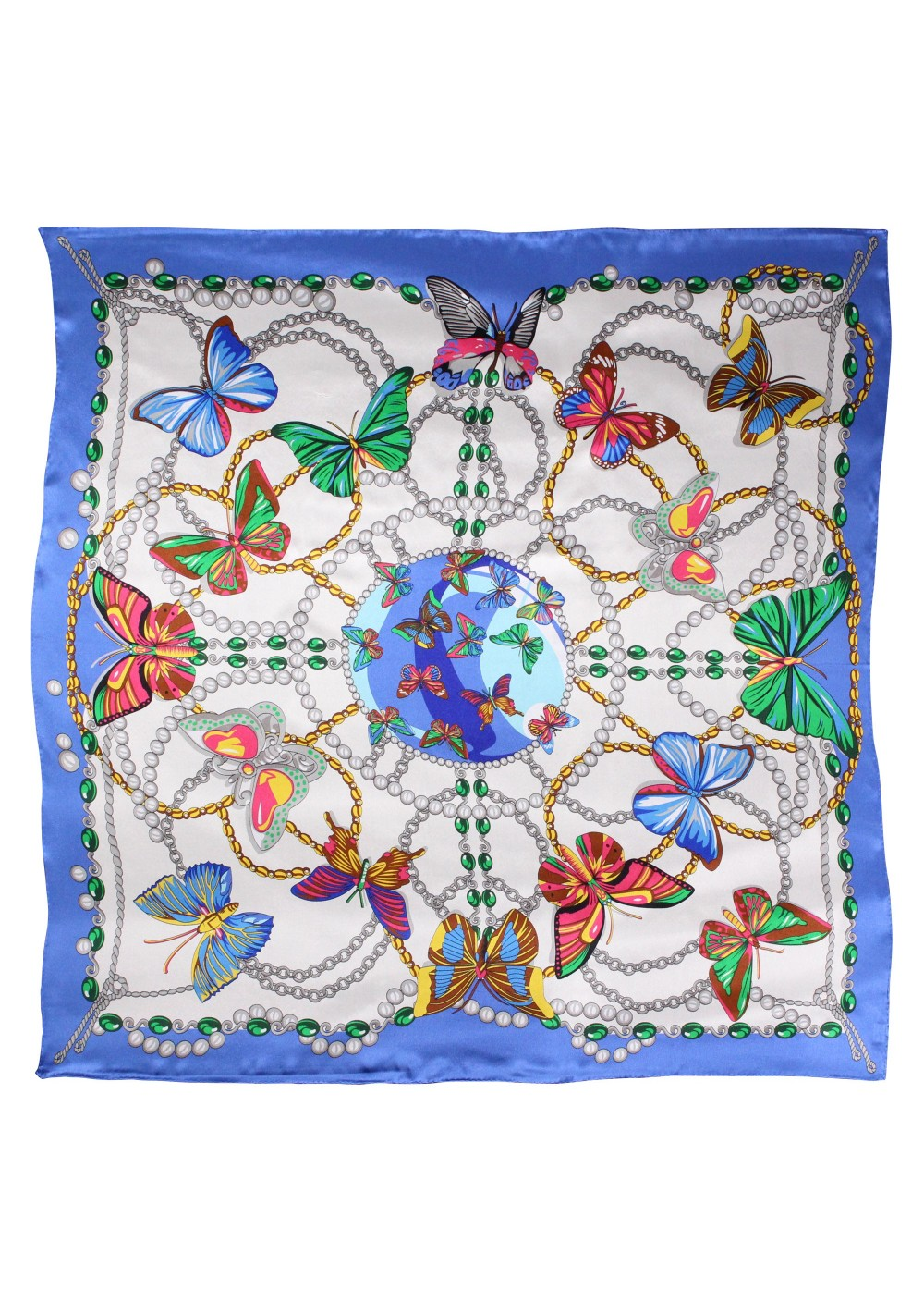 French Blue Butterfly Print Ladies Silk Scarf