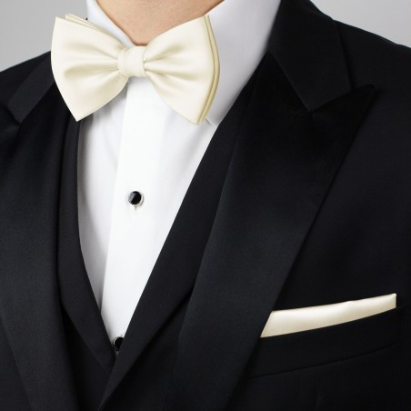 Champagne Color Bow Tie for Men Styled