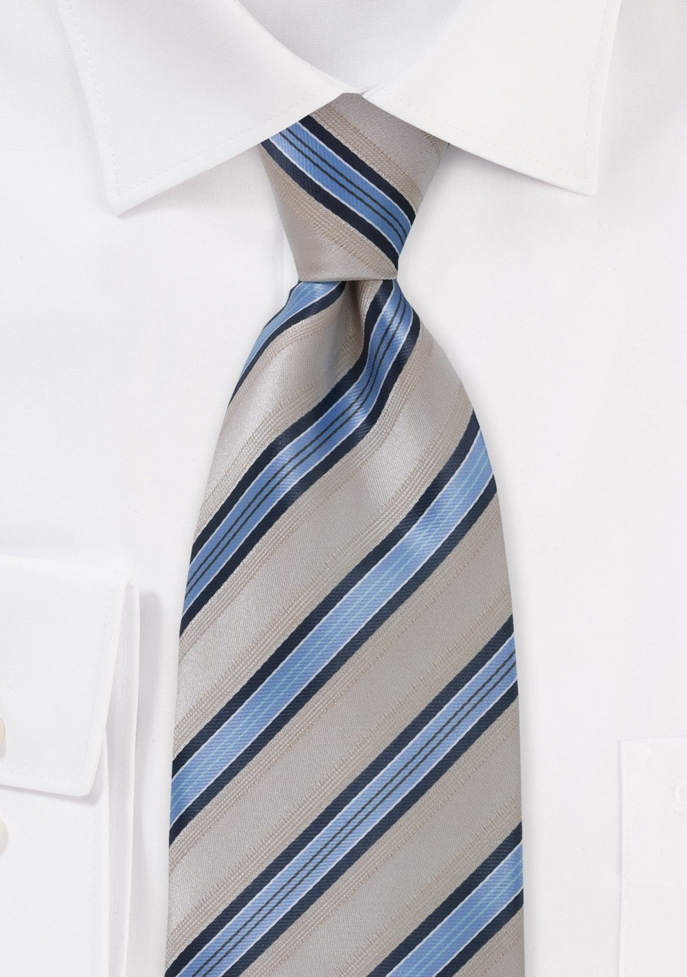 Tan and Blue Striped Tie